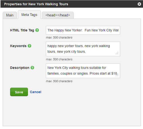 Put keywords in your title tags and meta tags